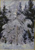 A framed oil on canvas, a tree in winter, inscribed, signed and dated to reverse in Russian