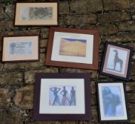 A collection of six framed and glazed prints to include Russian banknotes and African tribal and