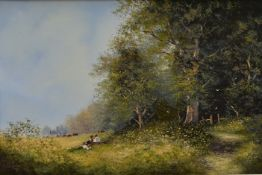 An oil on canvas, country landscape with children to the foreground, signed Les Parson in ornate
