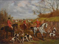 In the manner of E. B. Herberte, a gilt framed oil on board, a hunting scene. H.80 W.93cm