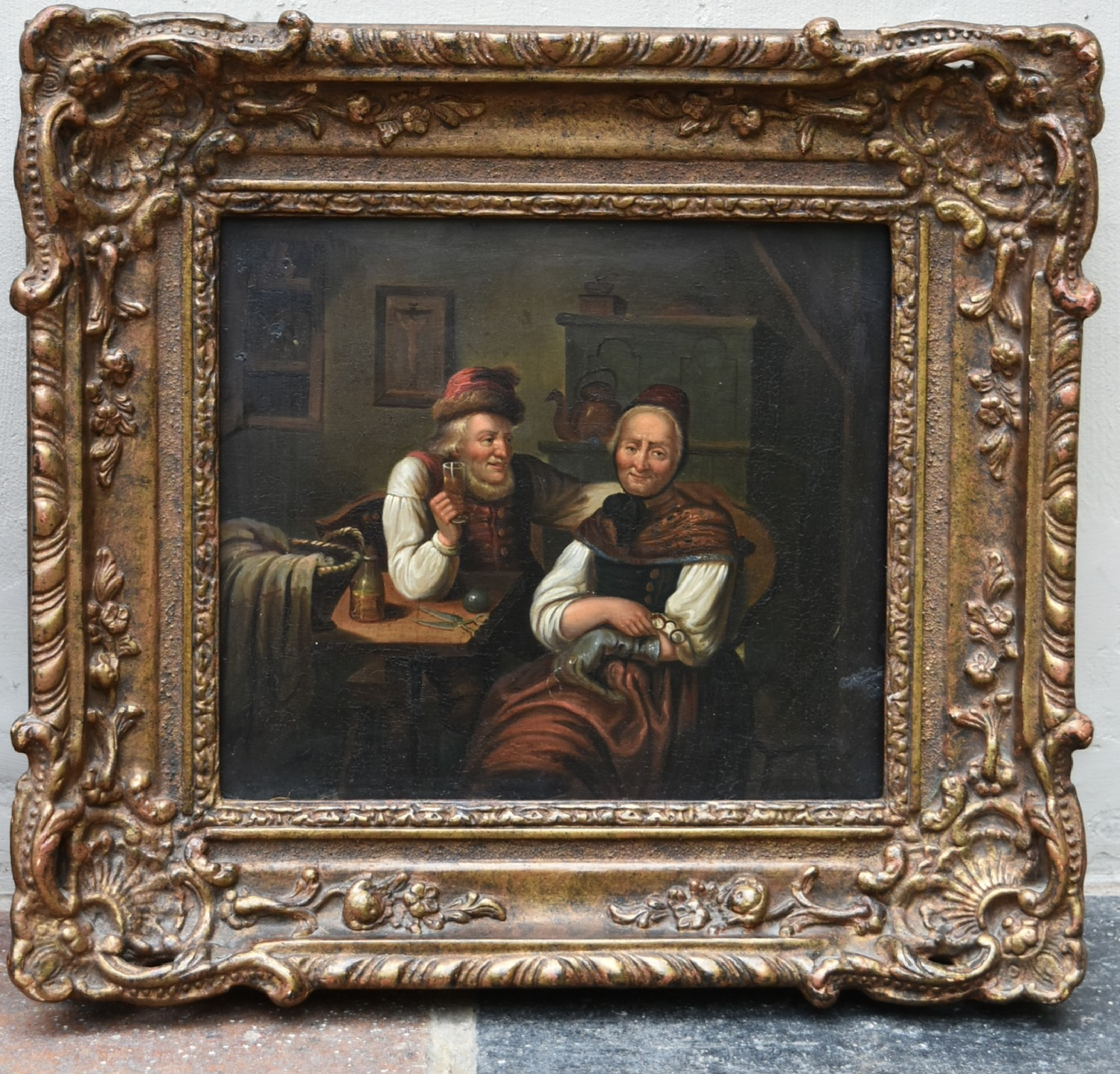 A 19th century oil on board in ornate gilt frame, an old couple seated together, unsigned. H.34 W. - Image 2 of 3
