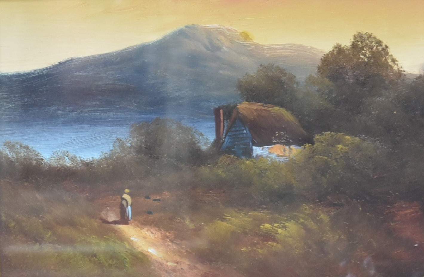 A pair of 19th century gilt framed oils on panel, country landscapes, unsigned. H.34cm W.44cm - Image 3 of 5