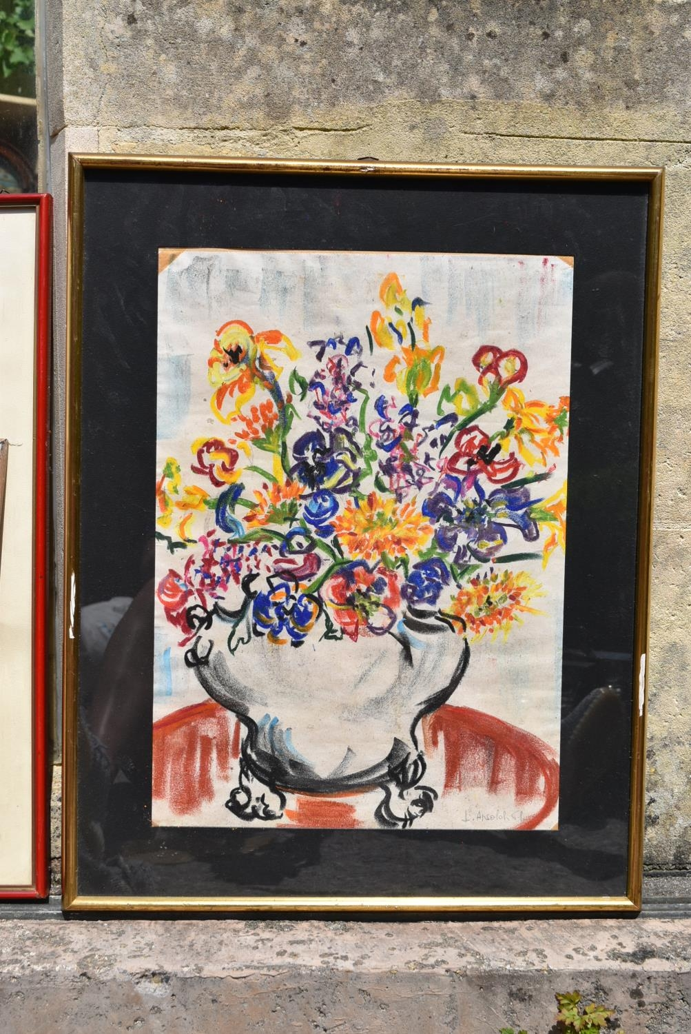 A still life etching, indistinctly signed and two still life watercolours of flowers, signed. H.50 - Image 4 of 10
