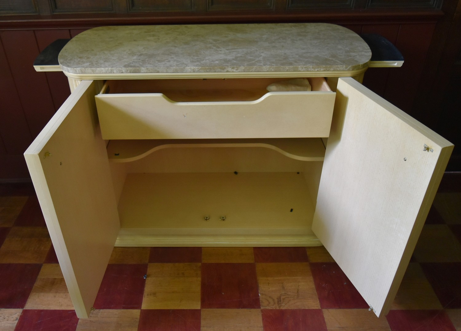 A contemporary kitchen island cabinet by Century with marble top and slides to each end above - Image 5 of 12