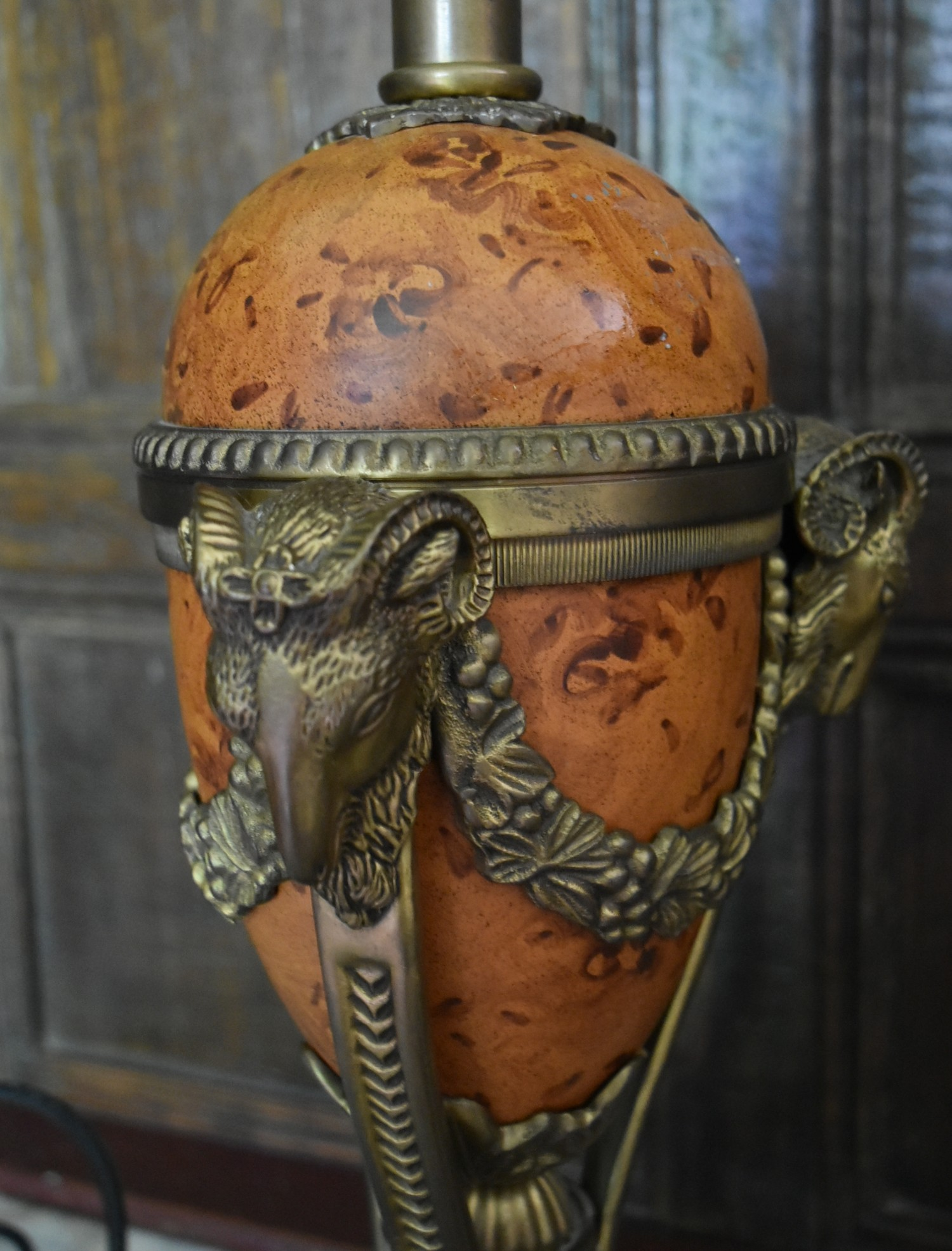 A pair of French Empire style faux marble table lamps with gilt metal ram's head detail. H.77cm W. - Image 2 of 6