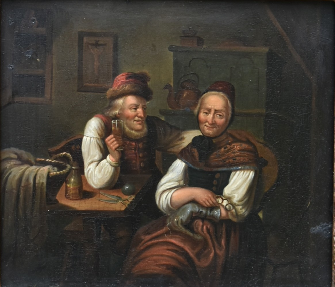 A 19th century oil on board in ornate gilt frame, an old couple seated together, unsigned. H.34 W.