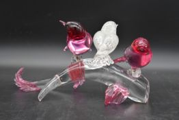 L. Seguso for Murano glass, three birds perched on a diving sea creature, birds removable, signed.
