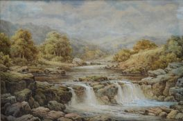 Charles A Bool, late 19th century British school, a Highland riverscape, framed and glazed,