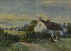 Arthur White (1865-1953) A framed and glazed watercolour, figures by a rural cottage, signed. H.46cm