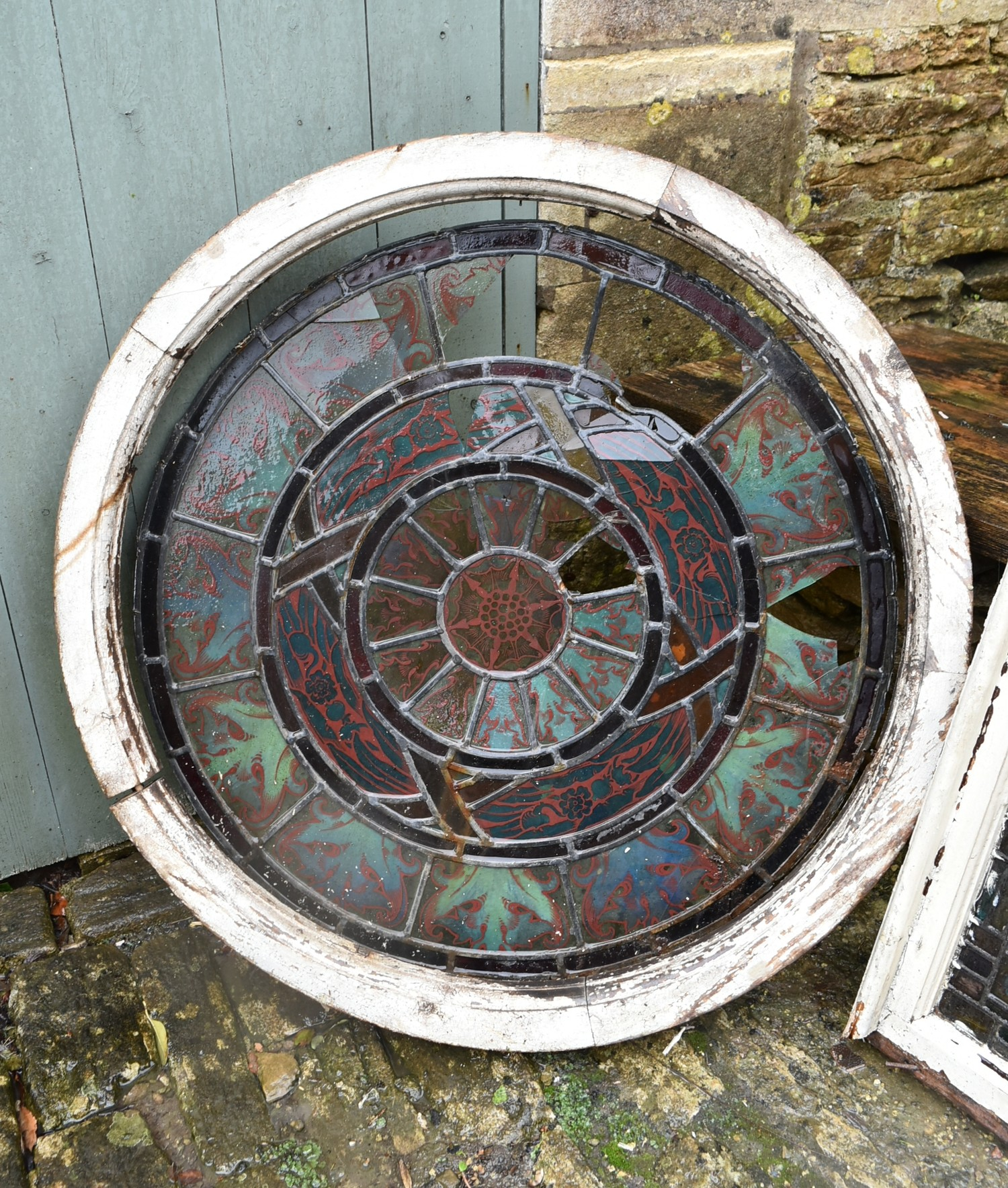 A pair of stain coloured etched and leaded glazed window frames and a similar window in circular - Image 4 of 8