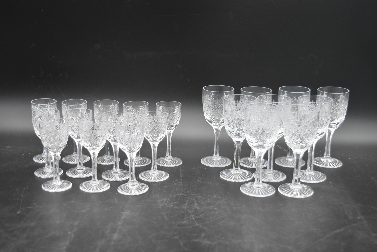 An extensive suite of cut crystal to include port and sherry glasses, champagne cups, vases, water - Image 3 of 15