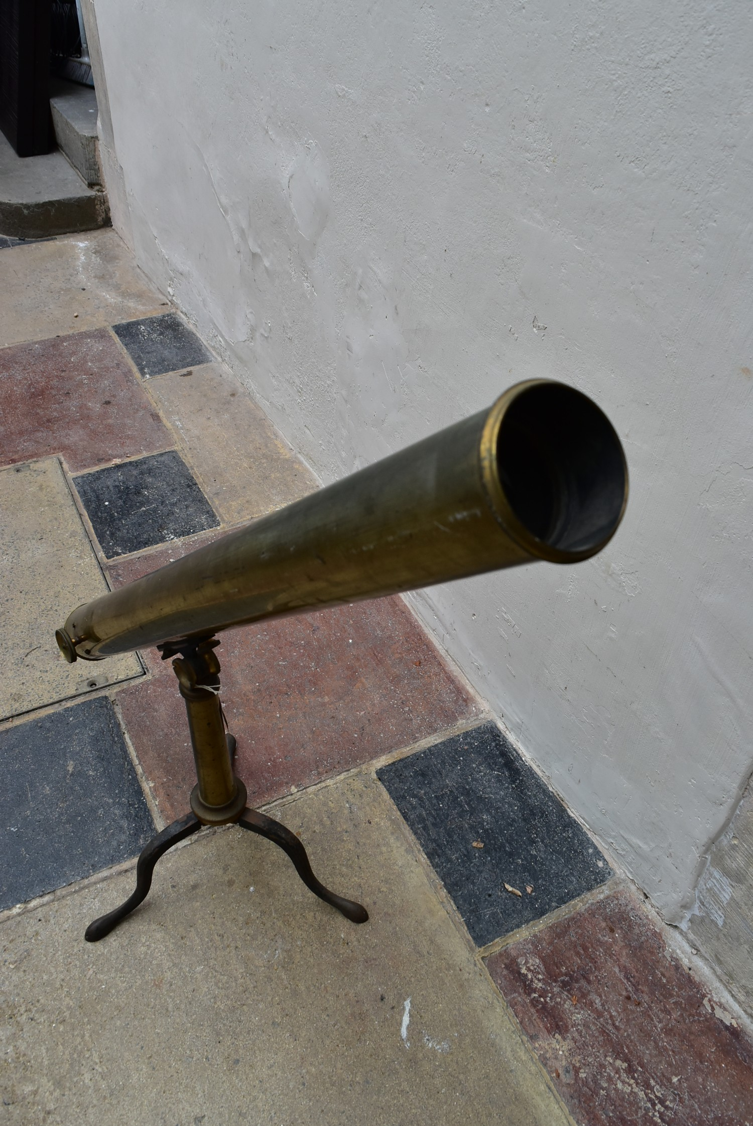 """A large 19th century 3"""" refracting two draw brass telescope with rack and pinion focusing on a - Image 6 of 6"""