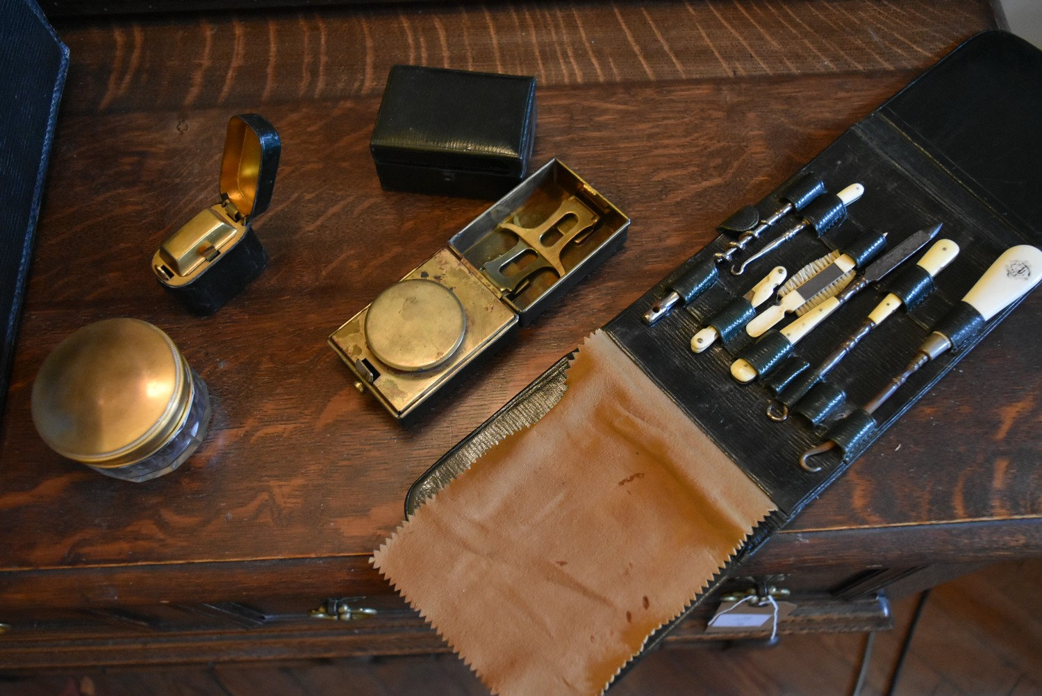 An early 20th century leather travelling gentleman's dressing case, well fitted with a wide - Image 9 of 10