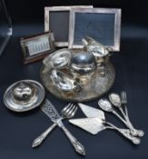 A miscellaneous collection of silver plated items, 19th century and later to include; a pair of fish