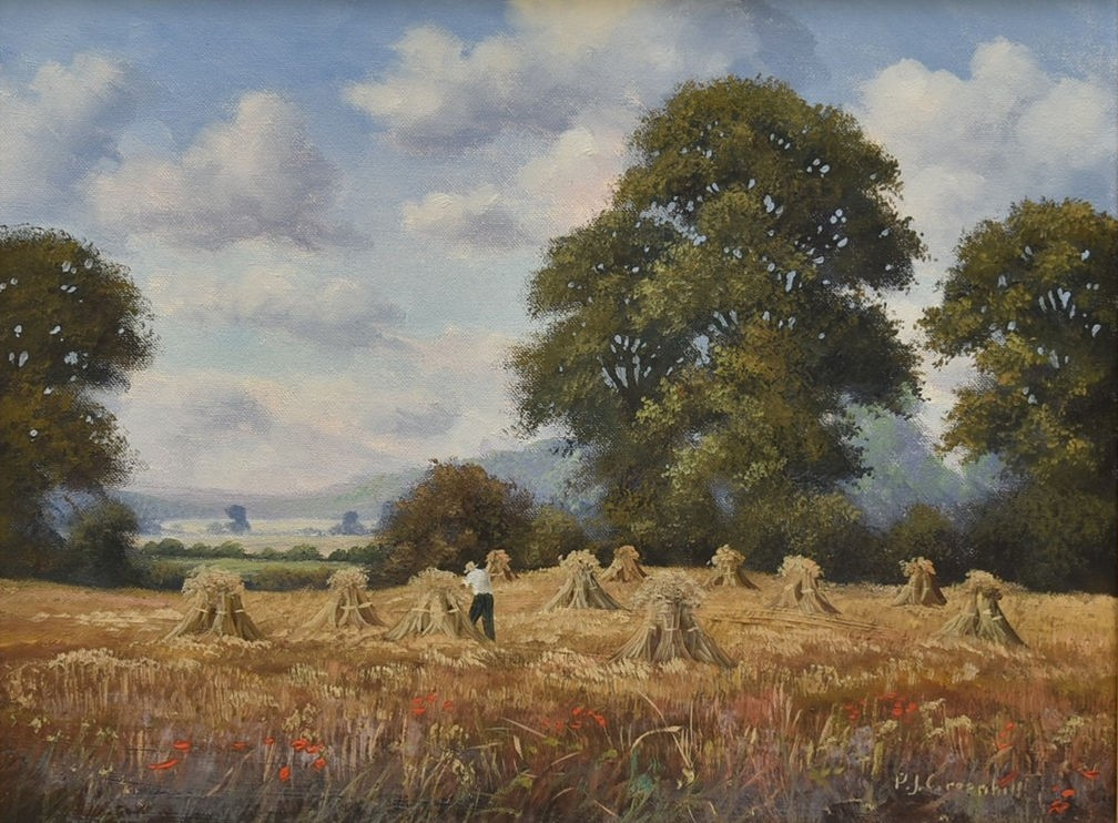 P J Greenhill, a gilt framed oil on canvas, harvest scene, signed with artist's short biography to