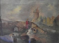 An early 19th century gilt framed oil on tin, figures by a bridge in a rural village setting with