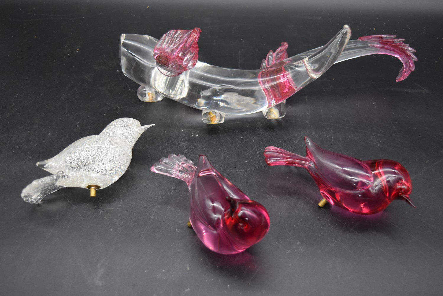 L. Seguso for Murano glass, three birds perched on a diving sea creature, birds removable, signed. - Image 2 of 9