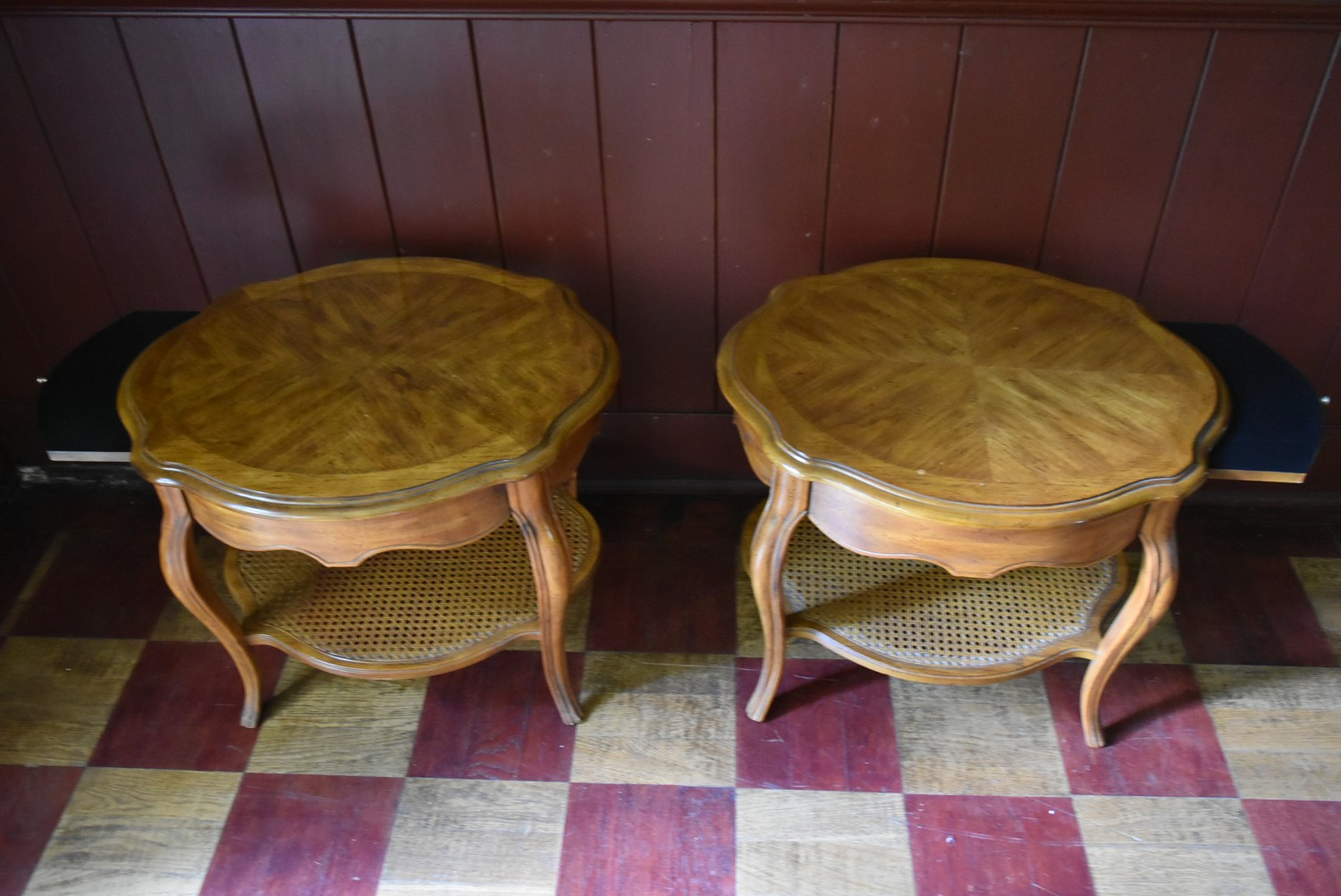 A pair of French style walnut quarter veneered and crossbanded side tables with plate glass tops - Image 3 of 4