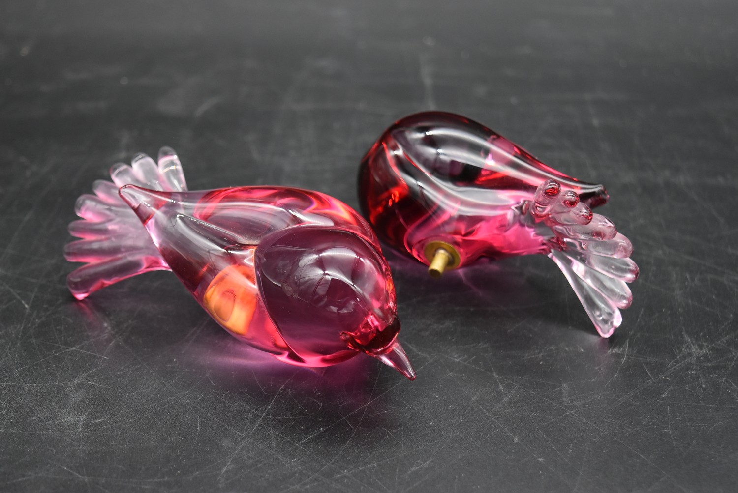 L. Seguso for Murano glass, three birds perched on a diving sea creature, birds removable, signed. - Image 6 of 9