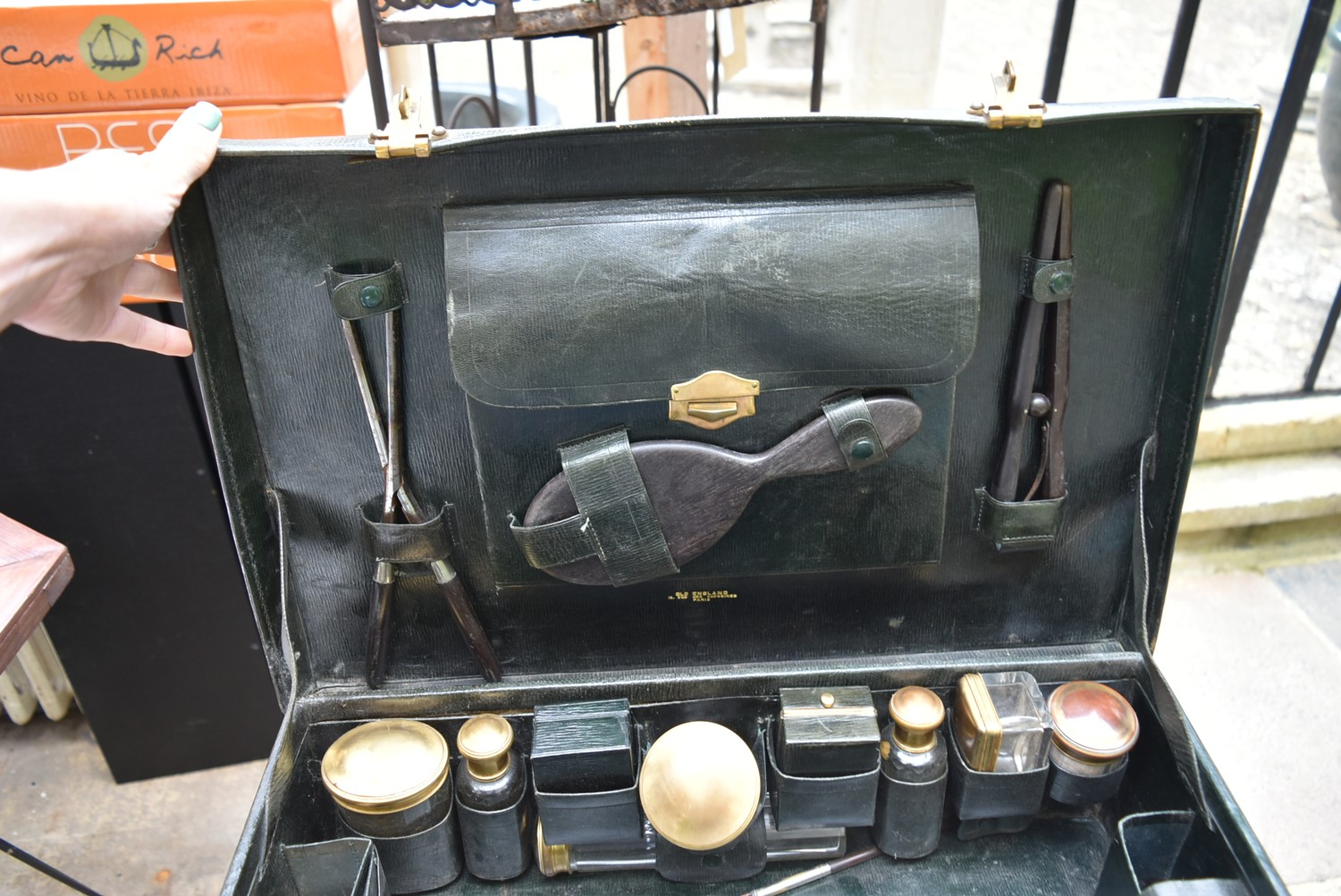 An early 20th century leather travelling gentleman's dressing case, well fitted with a wide - Image 6 of 10
