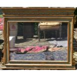 A 19th century French painted overmantel mirror with gilt floral husk and palmette decoration