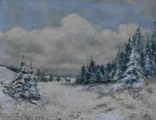 An oil on board, winter landscape, indistinctly signed bottom right in ornate gilt frame. H.49 W.