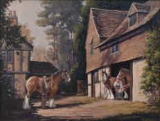 Ronald Moseley (b.1931) a framed oil on canvas, shire horses in a yard, signed and with artist's