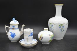 A hand gilded and painted porcelain coffee set by Herend to include coffee pot and a pair of