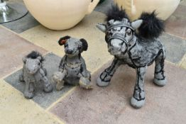 Ross Bonfanti, concrete and mixed material sculptures, two ponies and a seated dog, signed and