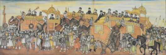 A framed and glazed Indian painting on ivory, a large Royal hunting procession, with many elephants,