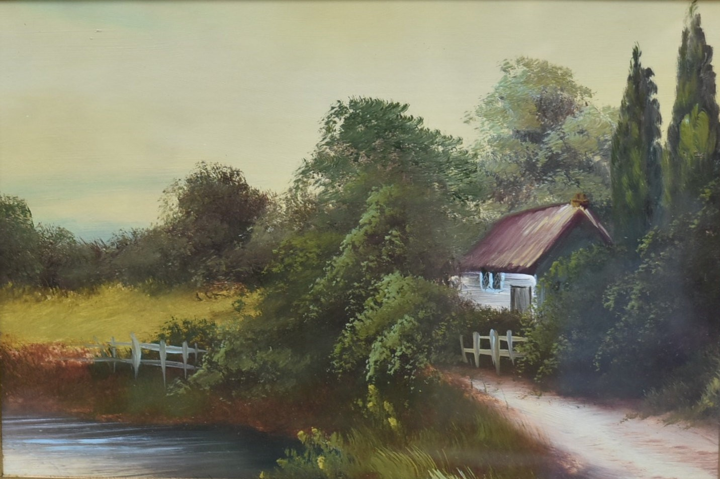 A pair of 19th century gilt framed oils on panel, country landscapes, unsigned. H.34cm W.44cm - Image 2 of 5