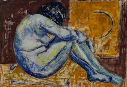 A framed oil on board, expressionist nude study, indistinctly signed and dated. H.110 W.55cm
