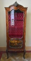 An 18th century style kingwood vitrine in the Vernis Martin manner with ormolu mounts and deep