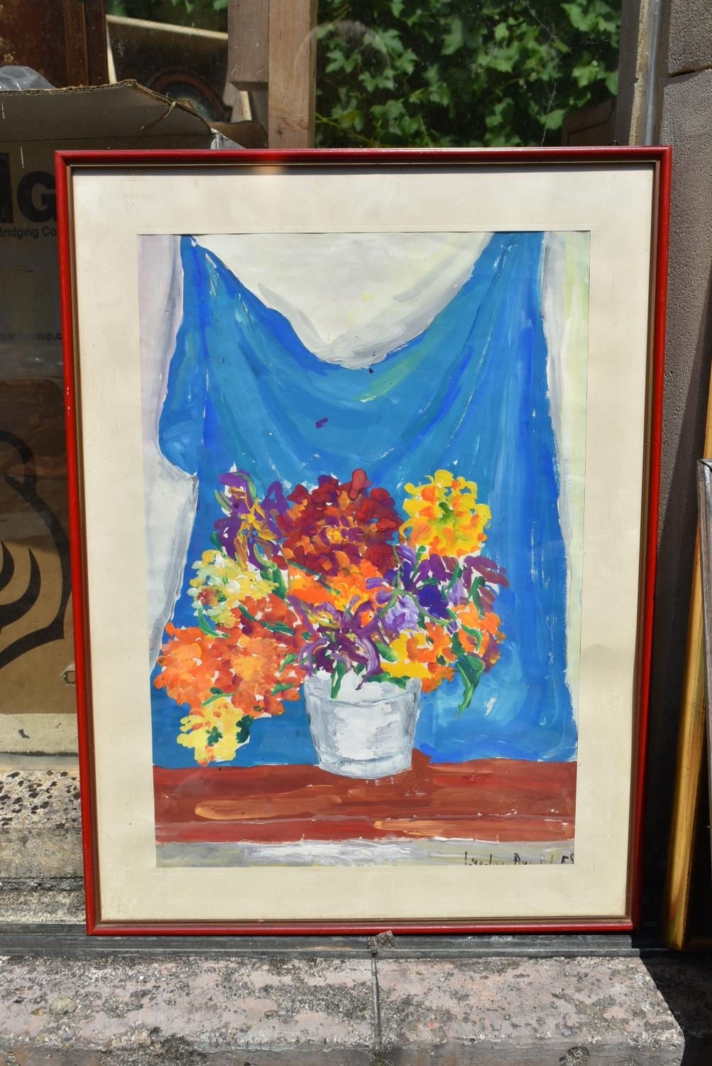 A still life etching, indistinctly signed and two still life watercolours of flowers, signed. H.50 - Image 6 of 10