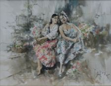 Gordon King (b.1939), a large framed and glazed watercolour, study of two young women laughing and