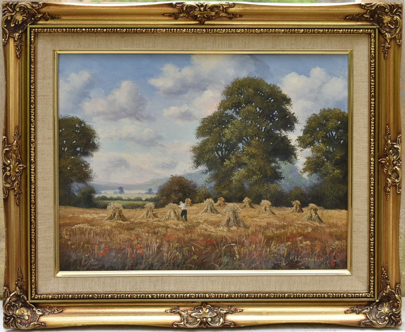 P J Greenhill, a gilt framed oil on canvas, harvest scene, signed with artist's short biography to - Image 2 of 5
