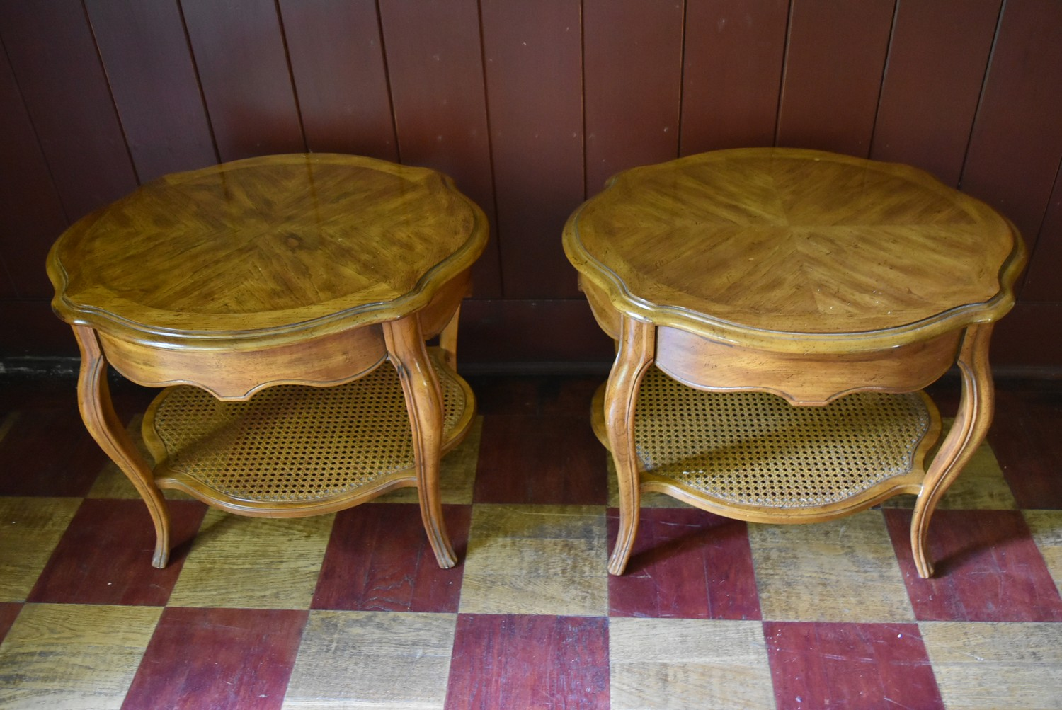 A pair of French style walnut quarter veneered and crossbanded side tables with plate glass tops - Image 2 of 4