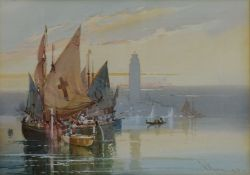 An early 20th century framed and glazed watercolour, sailing barges in a lagoon, indistinctly signed