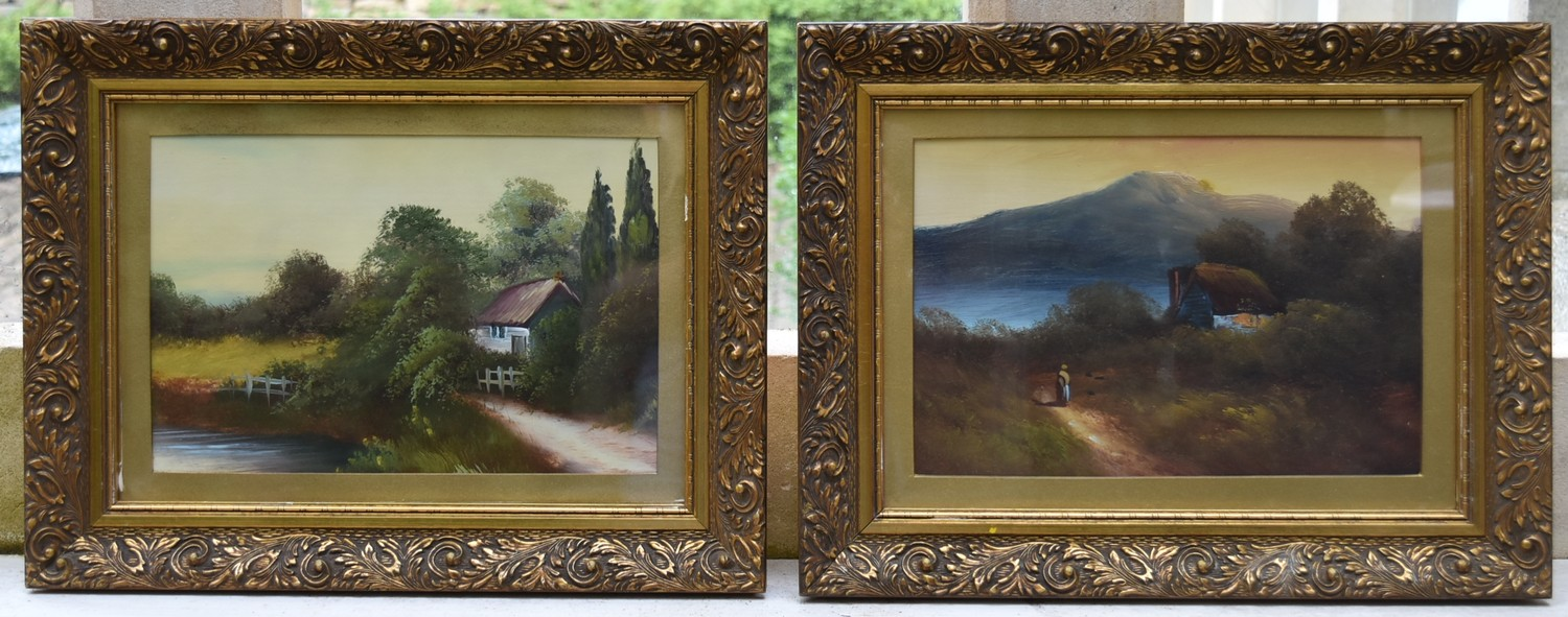 A pair of 19th century gilt framed oils on panel, country landscapes, unsigned. H.34cm W.44cm