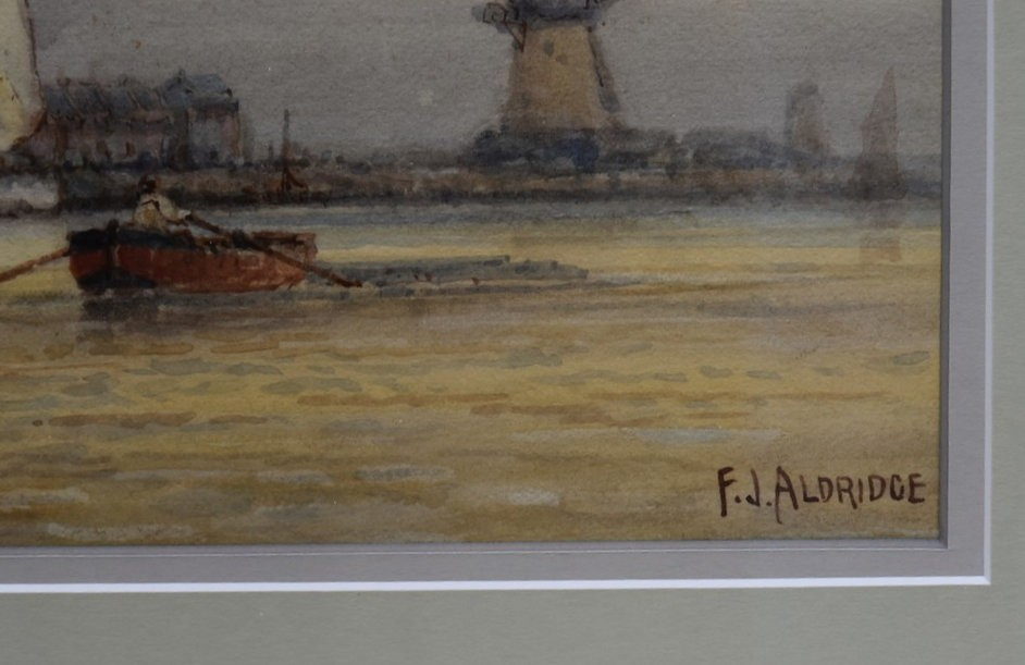 F J Aldridge (1850-1933) a pair of early 20th century gilt framed and glazed watercolours, tall - Image 3 of 7