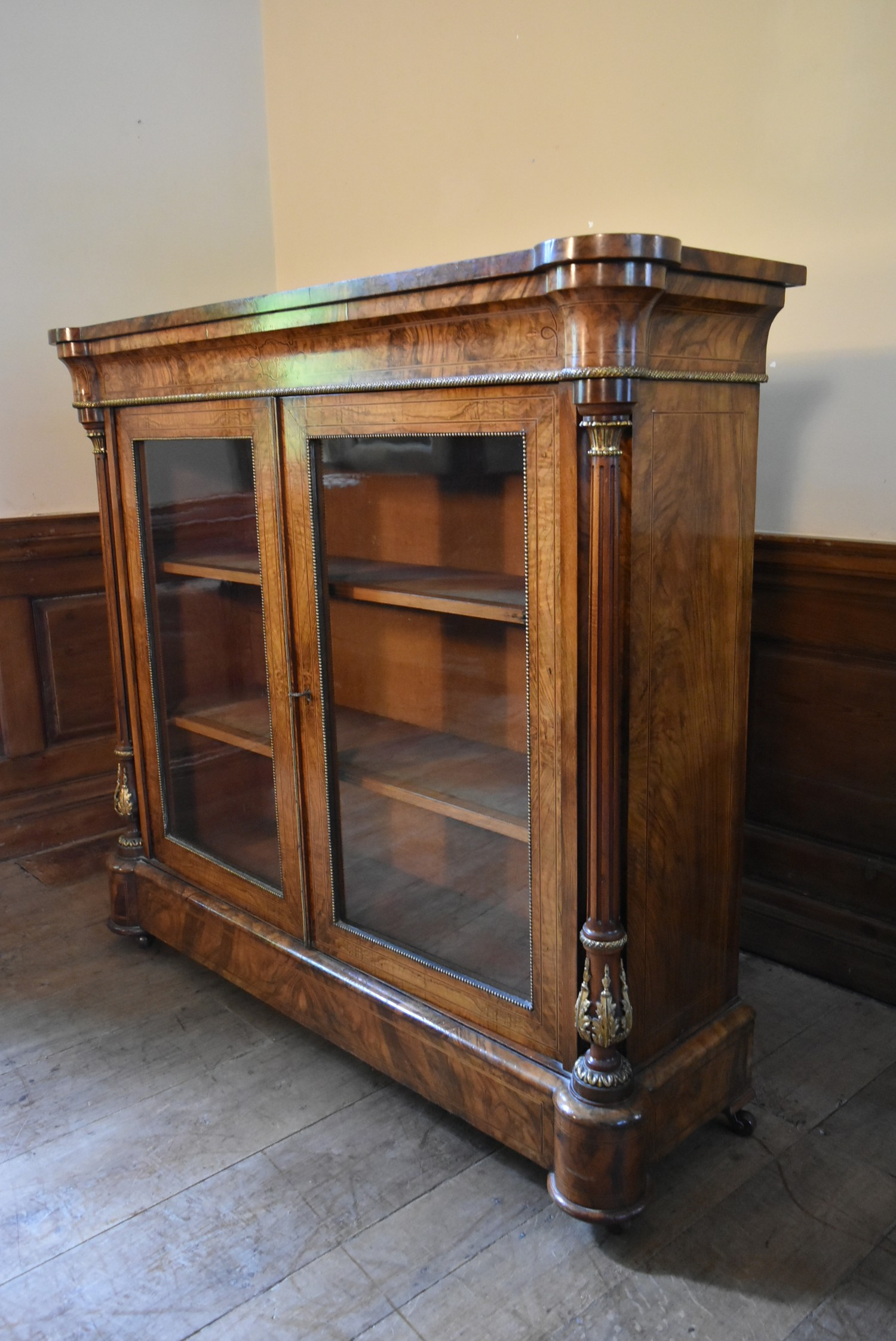 A Victorian burr walnut with satinwood and ebony strung pier cabinet with ormolu mounts and a pair - Image 2 of 6
