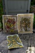 Three paintings on textile, one unframed, flowers and abstract figures, signed Lansoldi. H.90 W.70cm