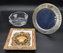 A Versace silver plated picture frame, octagonal glass bowl and a pin dish each with the Versace