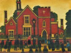 In the manner of Lowry, glazed oil on canvas, figures outside a church; Sunday Comes Around Very