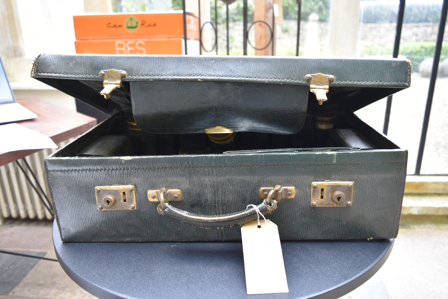 An early 20th century leather travelling gentleman's dressing case, well fitted with a wide - Image 4 of 10