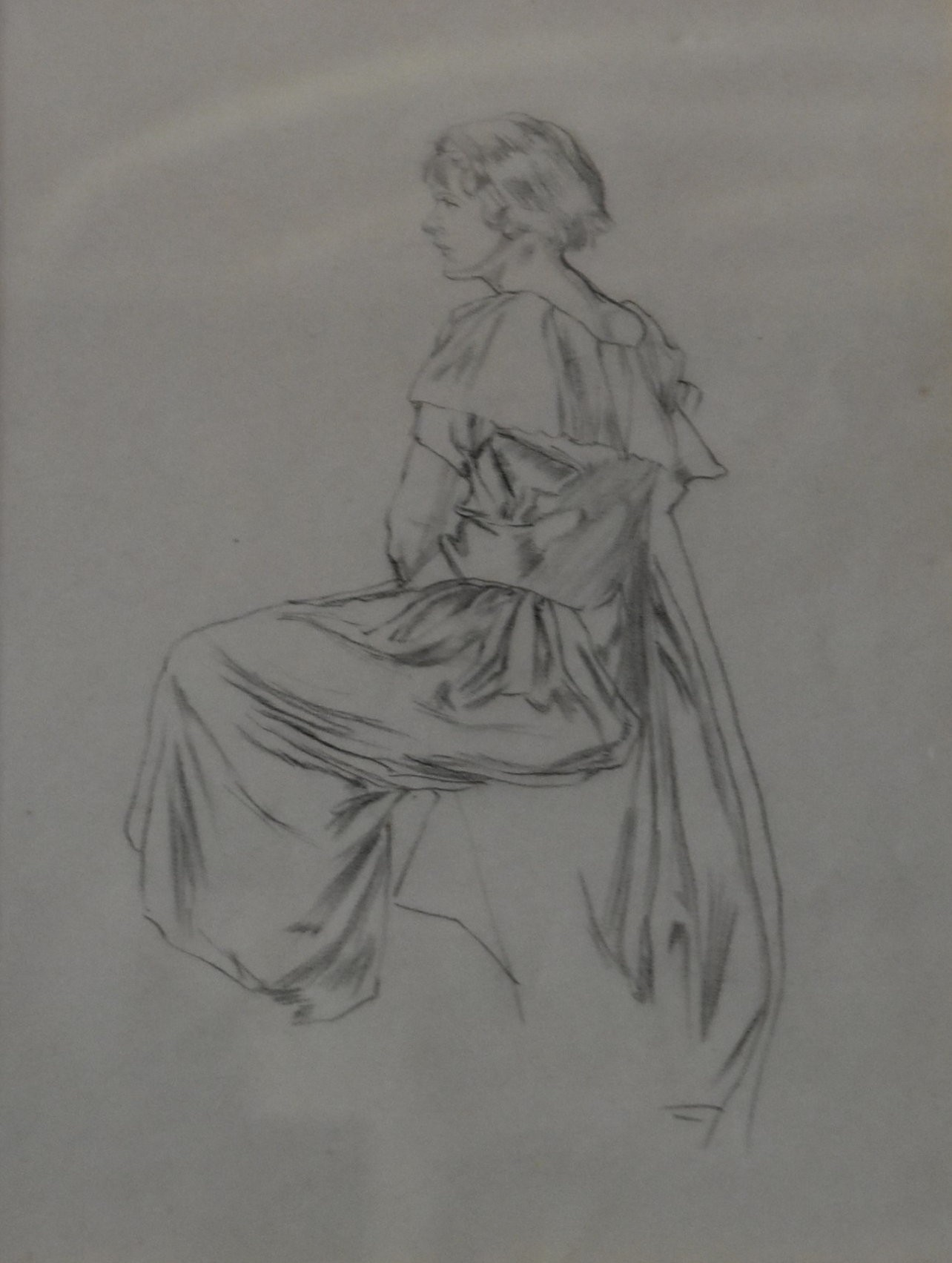 A gilt framed and glazed pencil sketch, seated lady in evening wear, unsigned. H.46 W.40cm