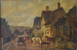 After D Wolstenholme, gilt framed oil on canvas, village scene with inn and horses, Witwell,