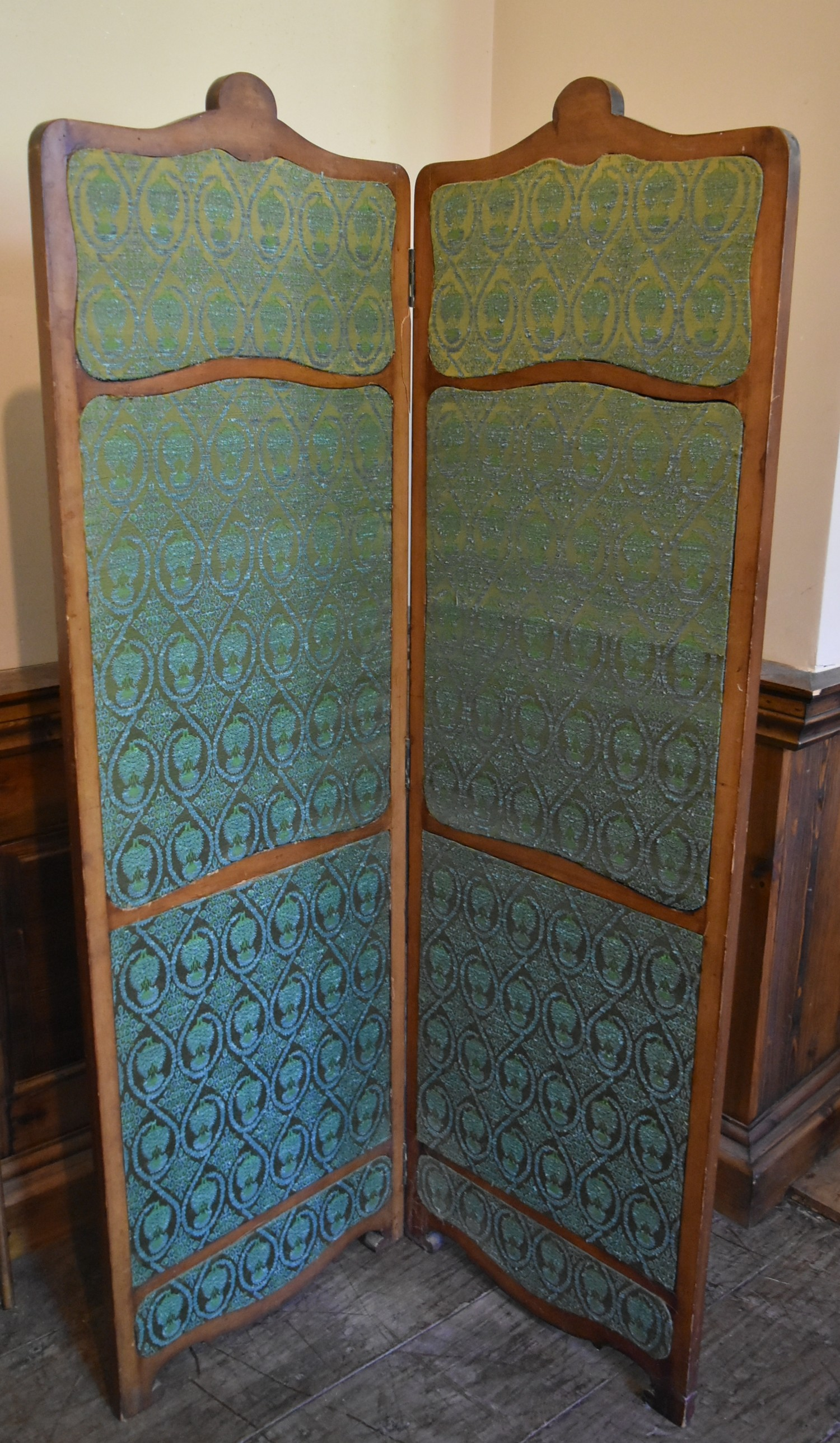 A French style carved screen with twin damask panels. H.146 W.93cm