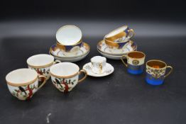 A set of four Garrrard blue and gilt Chinese influenced cups and saucers, three Japanese cups, a