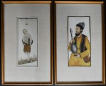A pair of Eastern framed and glazed paintings on ivory, musicians. H.30cm W.19cm